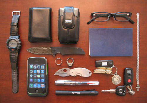 EDC or Every Day Carry gear on table
