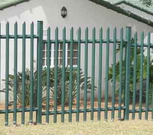Home security fencing -pallisade type with sharp spikes on top