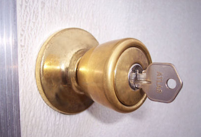 Door security system - Close up of key in a lock
