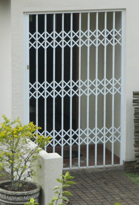 High quality security gate on external door of house