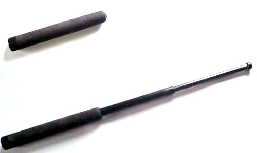 A telescopic baton in the open and closed positions