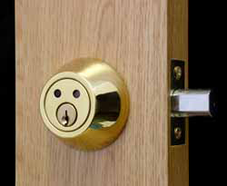 A lovely example of a deadbolt door lock