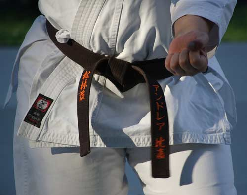 Martial art training - Blackbelt karate woman