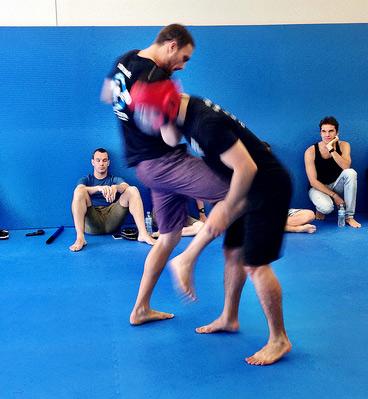Krav Maga knee strike in training