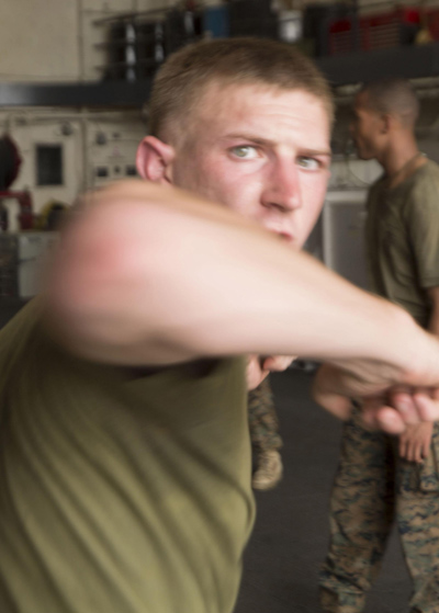 Soldier does elbow strike