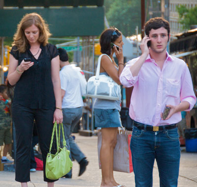 Lack of awareness - people talking on their cellphones in public
