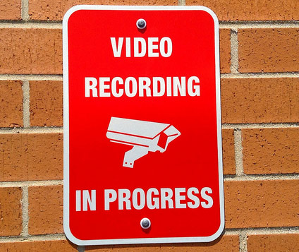 Video recording in progress - Red sign on wall