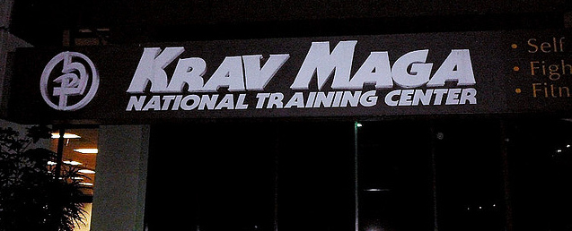 Krav Maga Moves - Big sign board outside Krav training centre