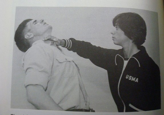 Old picture from a book of someone demonstrating the knife hand strike to the throat